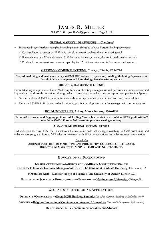 Marketing Director Sample Resume - CMO Marketing Sample Resume ...