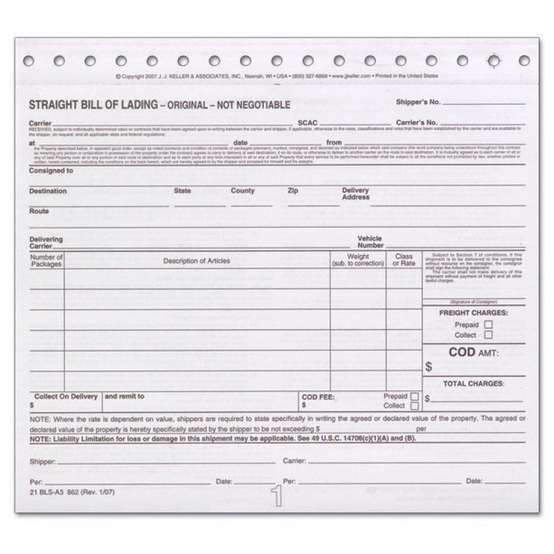 Bill Of Lading Short Form Carbon Shipping Documents | Truck n Tow.com