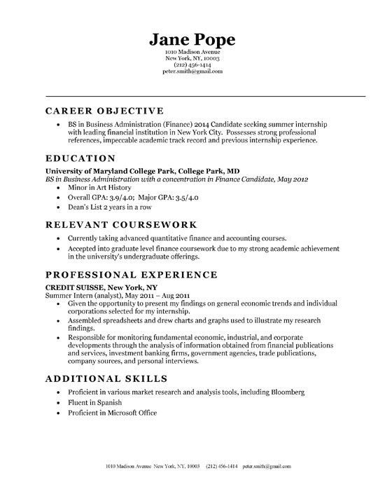 internship resume objectives sample resume objective for intern