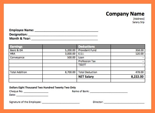 7+ salary payment format | Simple salary slip