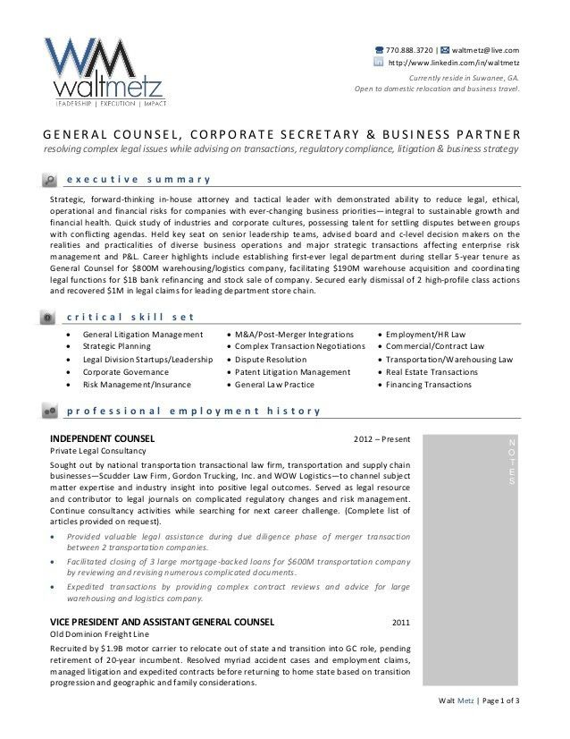 Walt Metz General Resume