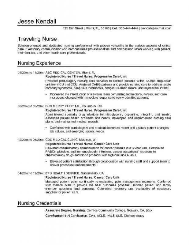 Travel Nurse Resume – Resume Examples