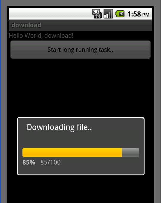 Progress bar and downloading a file sample program in Android