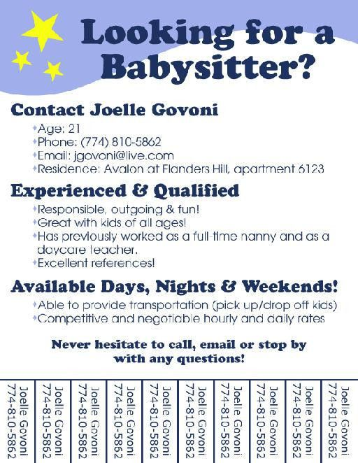 tear off babysitting flyer template