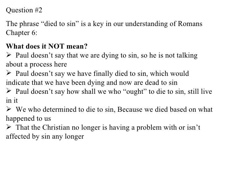 Be Who You Are In Christ (Summary) - Romans 6