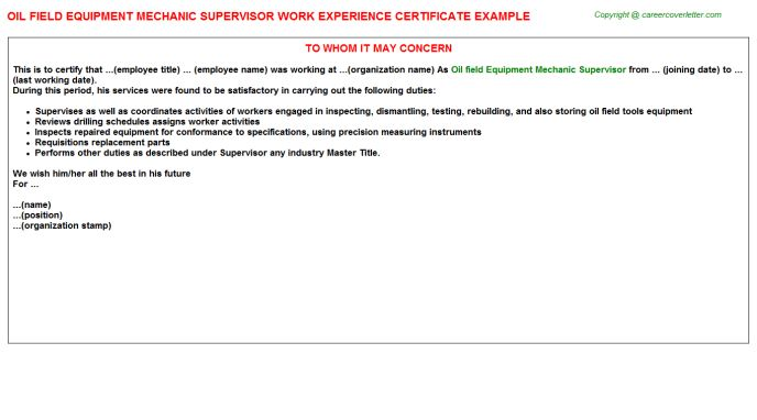 Bakery Machine Mechanic Supervisor Work Experience Letters