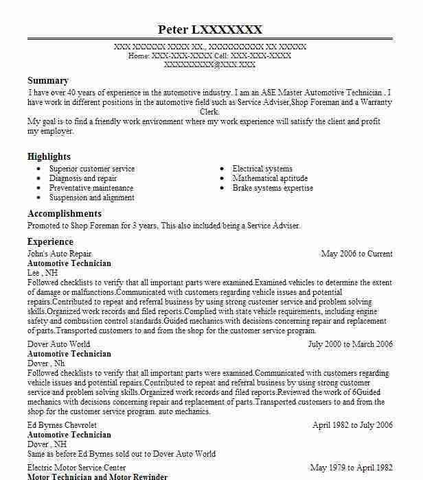 Best Automotive Technician Resume Example | LiveCareer
