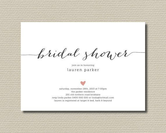 Printable Bridal Shower Invitation - Simple And Sweet Love Heart ...