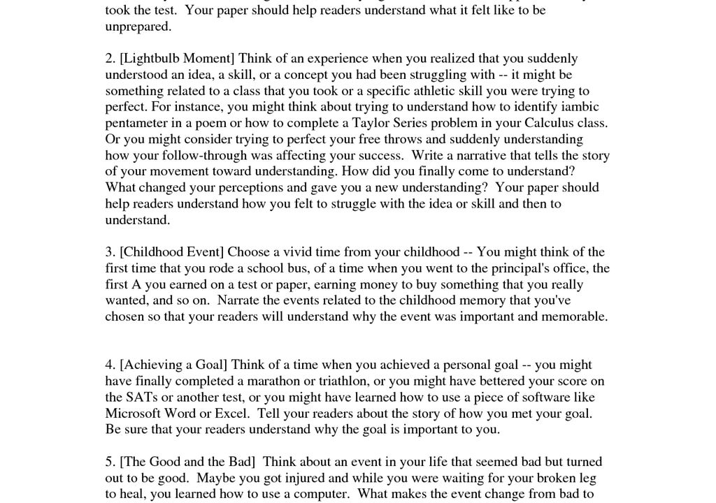 narrative essay example for high school