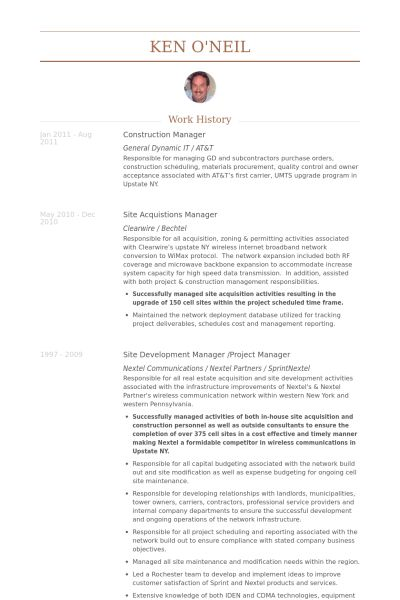 Construction Manager Resume samples - VisualCV resume samples database