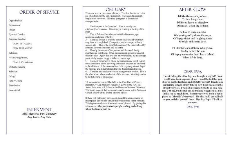 Patriotic Funeral Program Template with Poem and Orders of Service ...