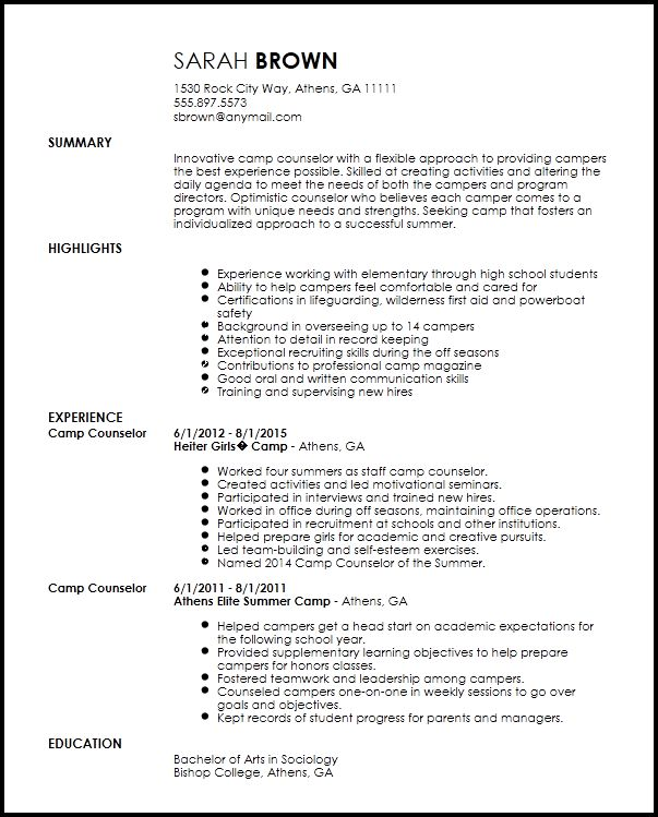 Sample Camp Counselor Resume - Gallery Creawizard.com