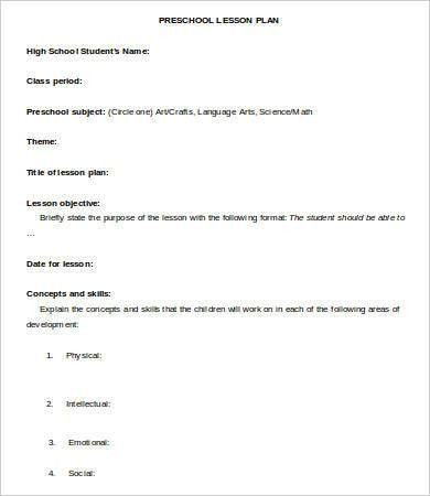 Lesson Plan Template - 9+ Free Sample, Example, Format | Free ...