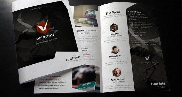 Origami Bi Fold Brochure Template | Brochure Templates | Pixeden