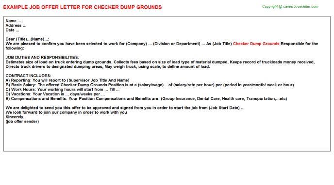 Checker Dump Grounds Offer Letter