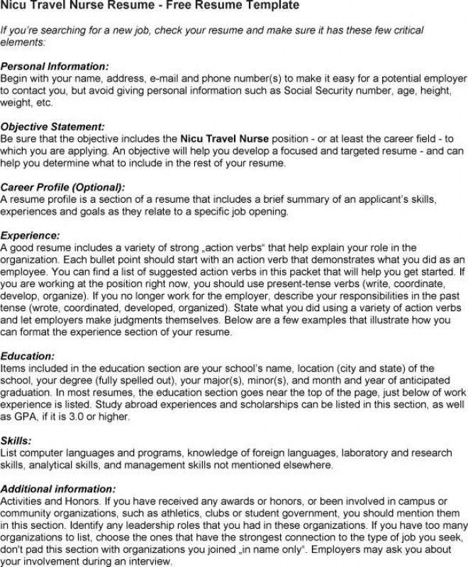 Travel Nurse Resume – Resume Examples