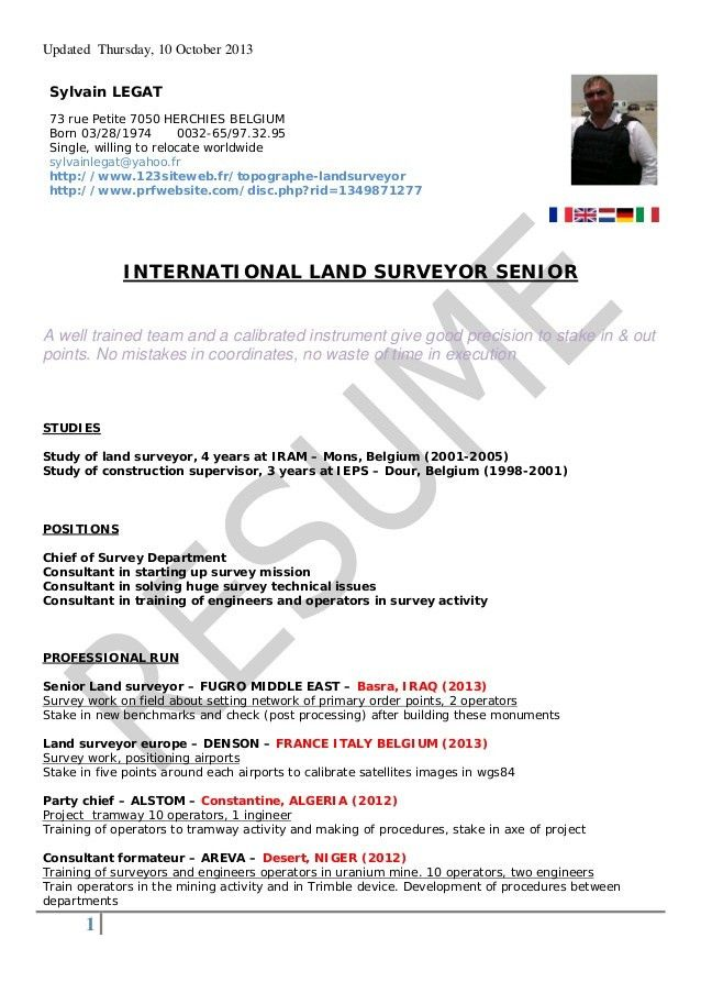 Resume Format For Land Surveyor | Resume Format