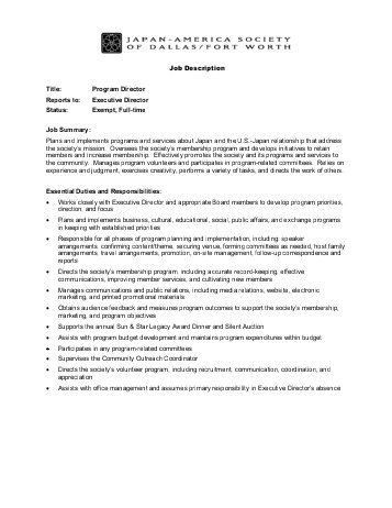 Program Director Job Description. 3 After School Program Director ...
