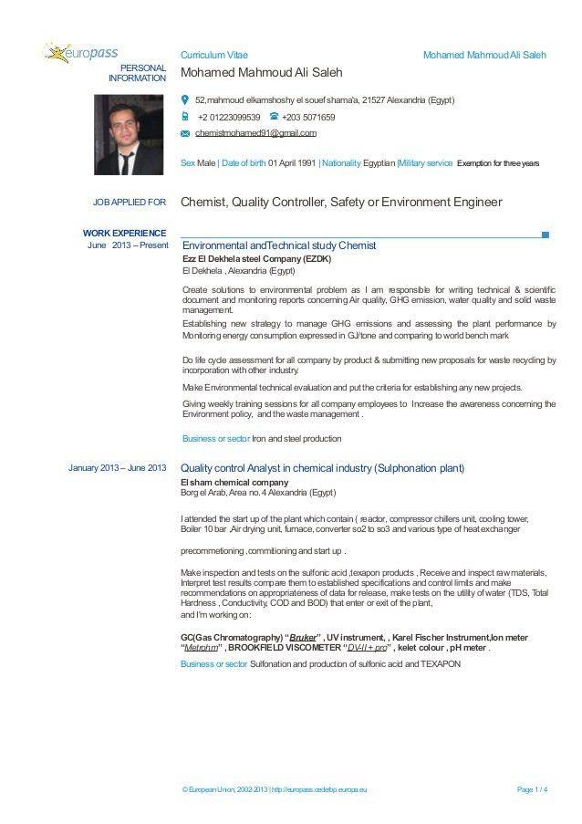 Chemist mohamed mahmoud CV