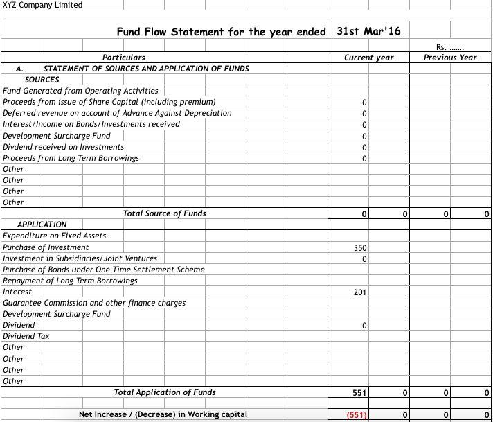 How to Prepare Fund flow Statement with Format in PDF & Excel ...