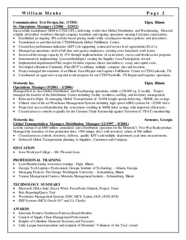 supply operation manager resume resume operations manager supply