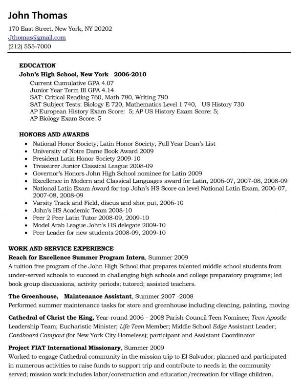 High School Cv. High School Résumé Sample And College Graduate ...