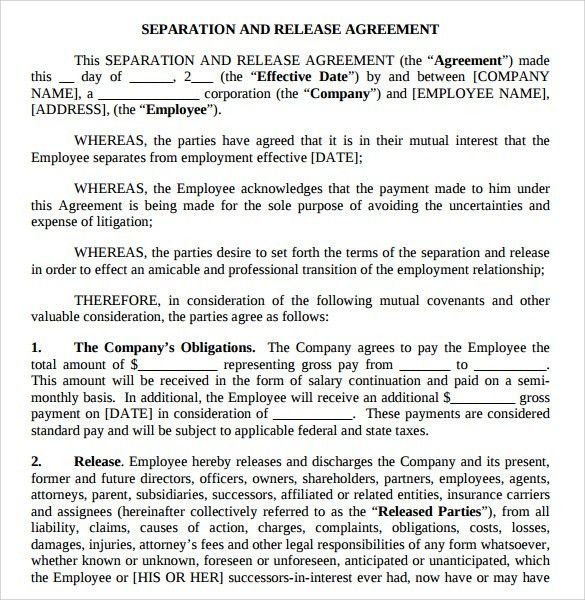 Free Marriage Separation Agreement Template