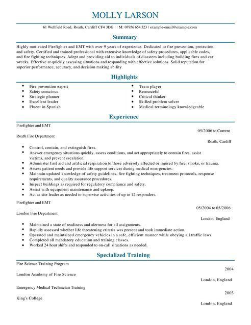 Firefighter CV Example for Emergency Services | LiveCareer