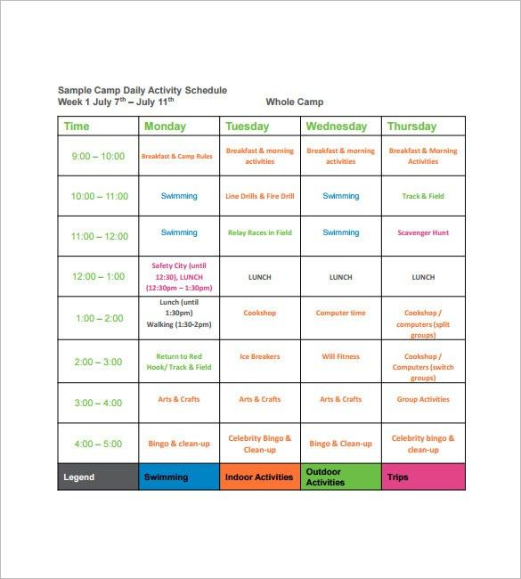 Camp Schedule Templates – 9+ Free Word, Excel, PDF Formt Download ...