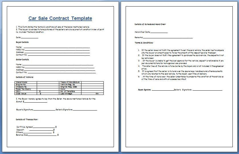 Car Sale Contract Template for MS Word | Formal Word Templates