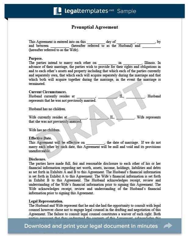 Prenuptial Agreement   Create a Free Prenup   LegalTemplates