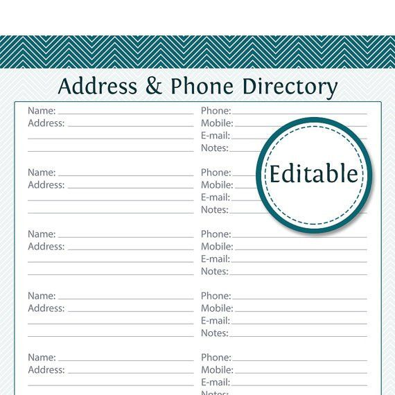 Best Photos of Phone Book Template - Printable Phone List Template ...