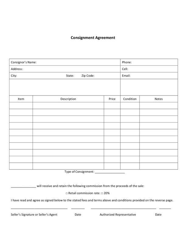 Consignment Agreement | LegalForms.org