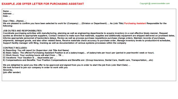 Purchasing Assistant Offer Letters