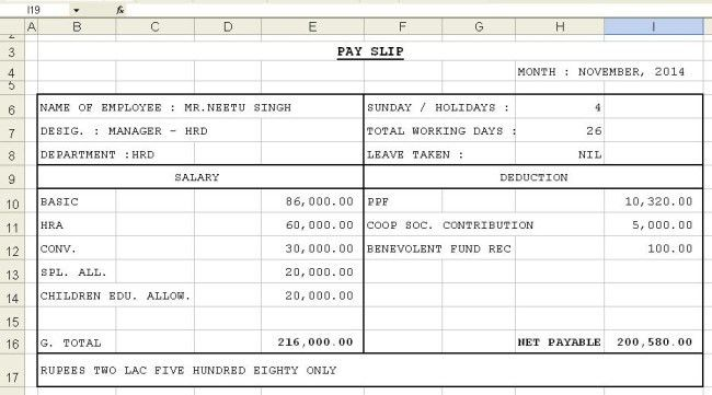 Simple Pay Slip Template Example in Excel with Table Format for ...