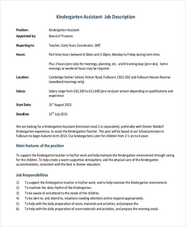 Sample Teacher Job Description - 12+ Examples in Word, PDF