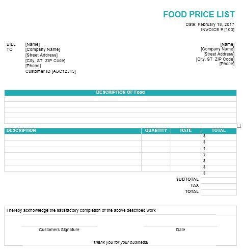 9 Free Sample Food Price List Templates – Printable Samples