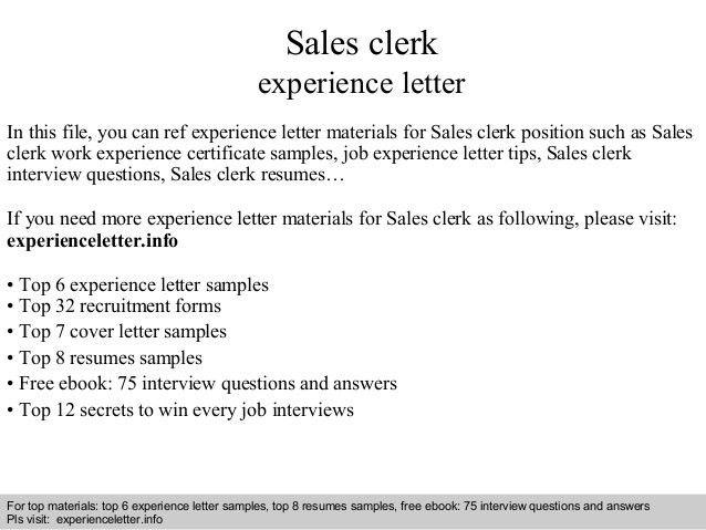 sales clerk resume samples