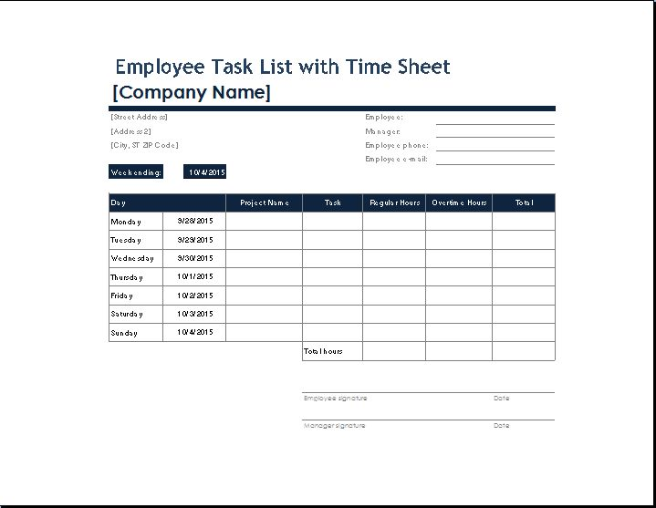 You can get your own employee task list template from here and ...