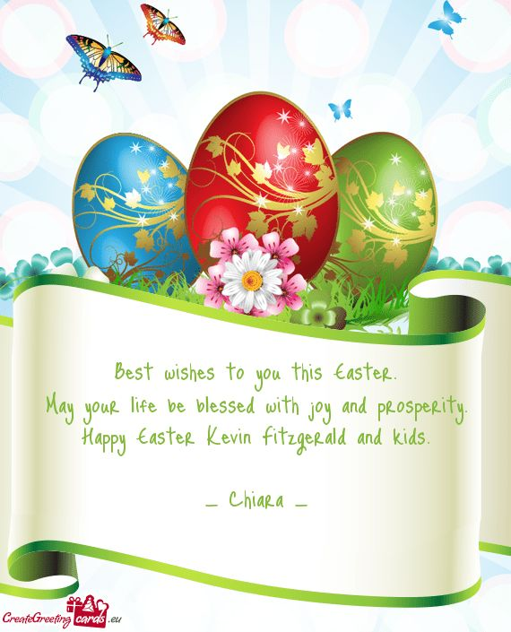 Best wishes to you this Easter. May your life be blessed - Free cards