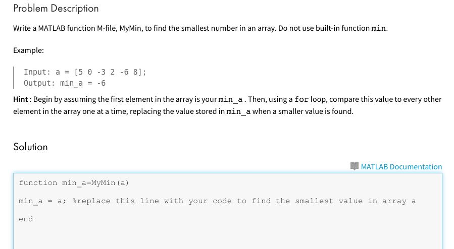 Write A MATLAB Function M-file, MyMin, To Find The... | Chegg.com