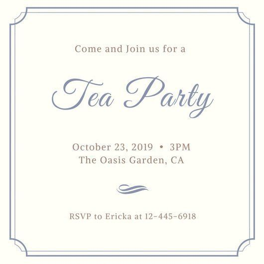 Tea Party Invitation Templates - Canva