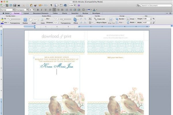 Free Printable Wedding Invitation Template Set - Birds & Blossoms