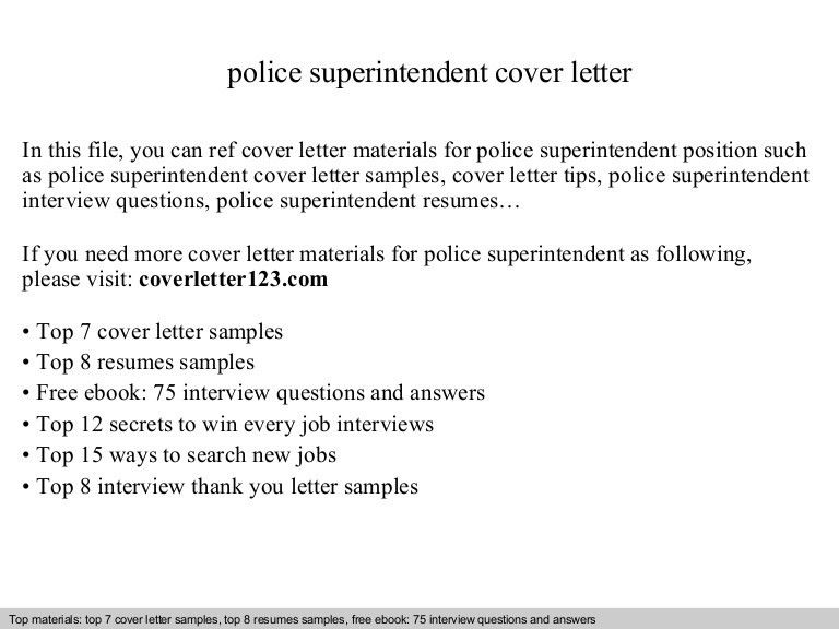 Police superintendent cover letter