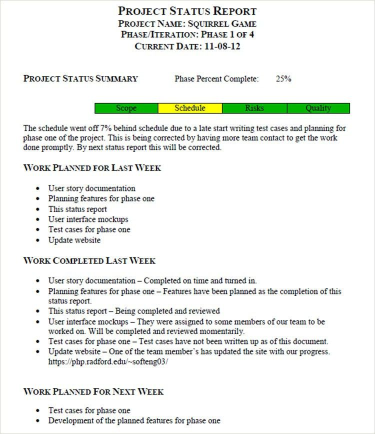 weekly report format in word