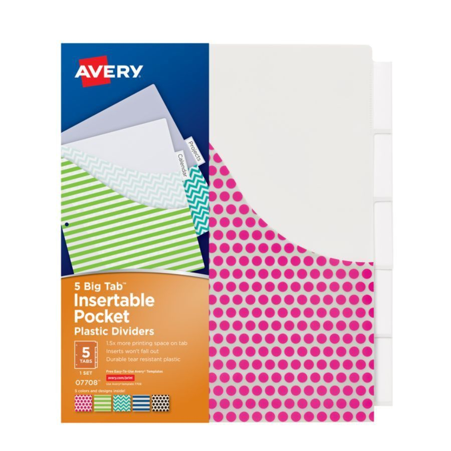 Avery Big Tab Insertable Plastic Dividers With Pockets 9 14 x 11 ...