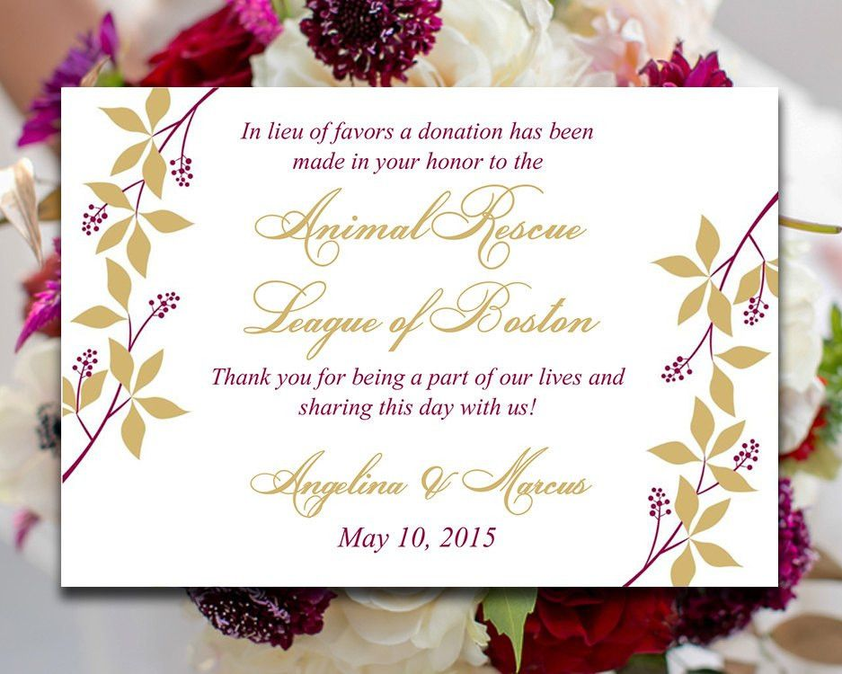 Wedding Favor Donation Card Template - Rose Wine Gold Wedding ...