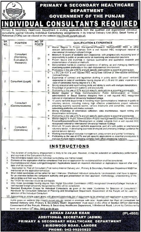 Individual Consultant Jobs At Primary & Secondary Healthcare ...
