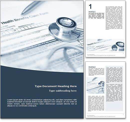 Royalty Free Health Insurance Microsoft Word Template In Blue