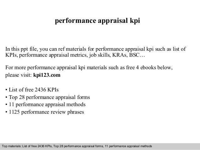 Performance appraisal kpi